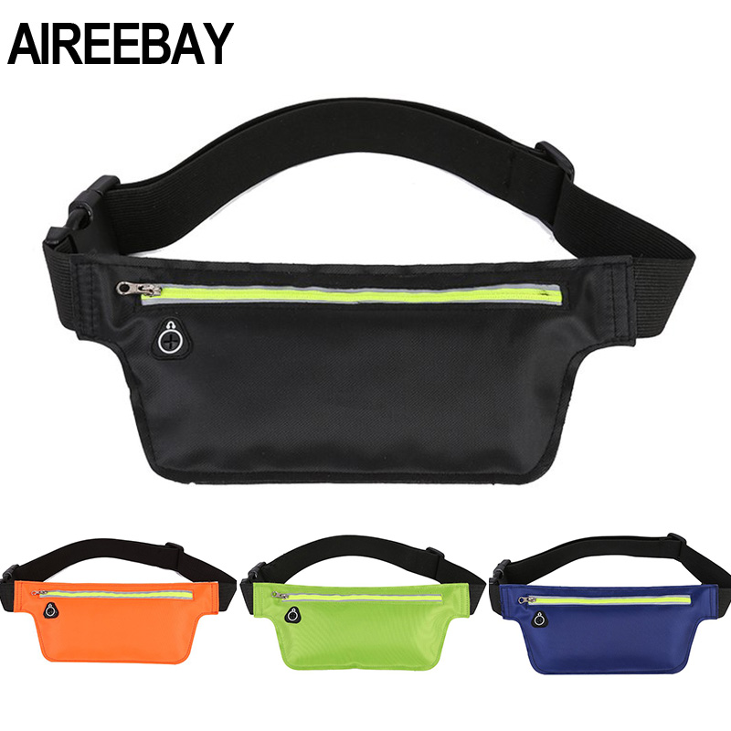 AIREEBAY Professional Sports Travel Fanny Pack Reflective Women Running Waist Bags Waterproof Mobile Men Phone Pouch Belt Bags