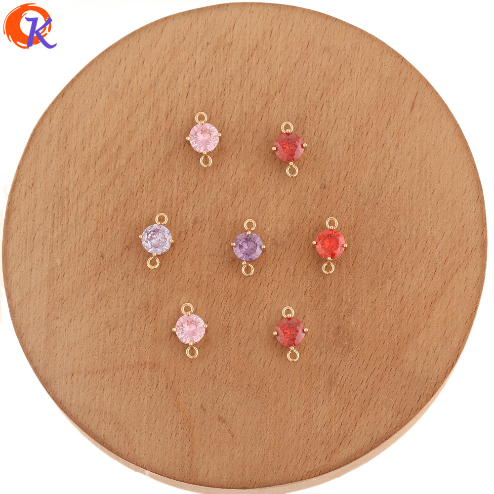Cordial Design 50Pcs 7*12MM Jewelry Accessories/Earrings Making/CZ Connectors/Round Shape/DIY Parts/Hand Made/Jewelry Findings