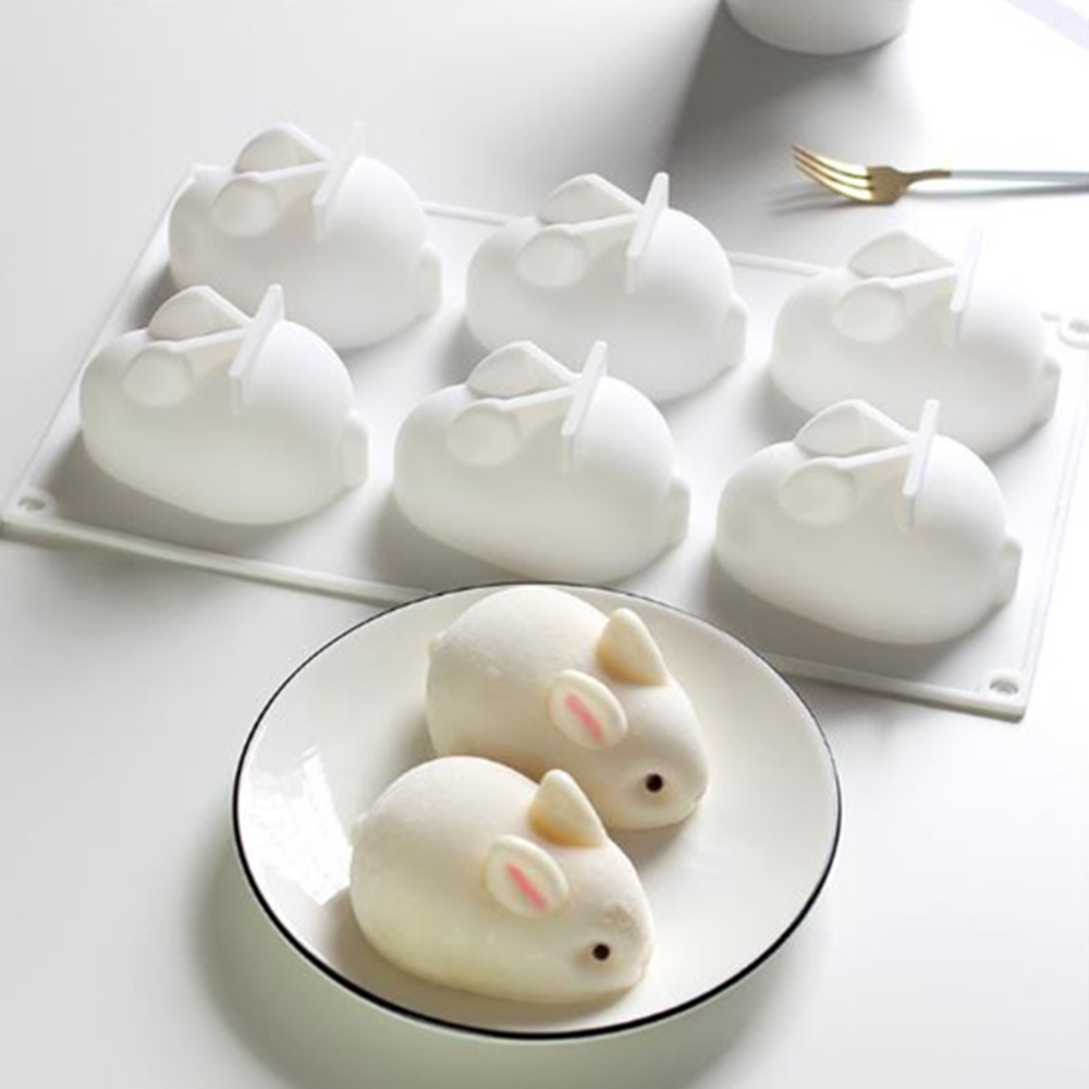 Cake Decorating Moulds Silicone 3D Easter Bunny Rabbit Cake Molds Silicone Molds For Baking Dessert Pastry Mousse 6 Forms Tools