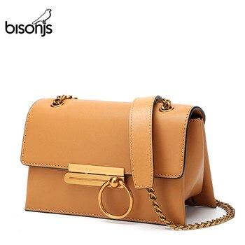 цена на BISONJS brand fashion women shoulder bag Cow Leather ladies bag  Satchel women messenger bags Small Crossbody Bag B1635