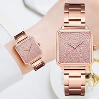 Diamant Uhr Für Frauen Luxus Marke Damen Gold Quadrat Uhr Minimalistischen Analog Quarz Movt Einzigartige Weibliche Iced Out Uhr