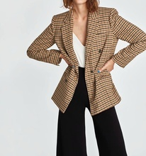 Women Plaid Suit Double Breasted Autumn new za style Office Lady Suits