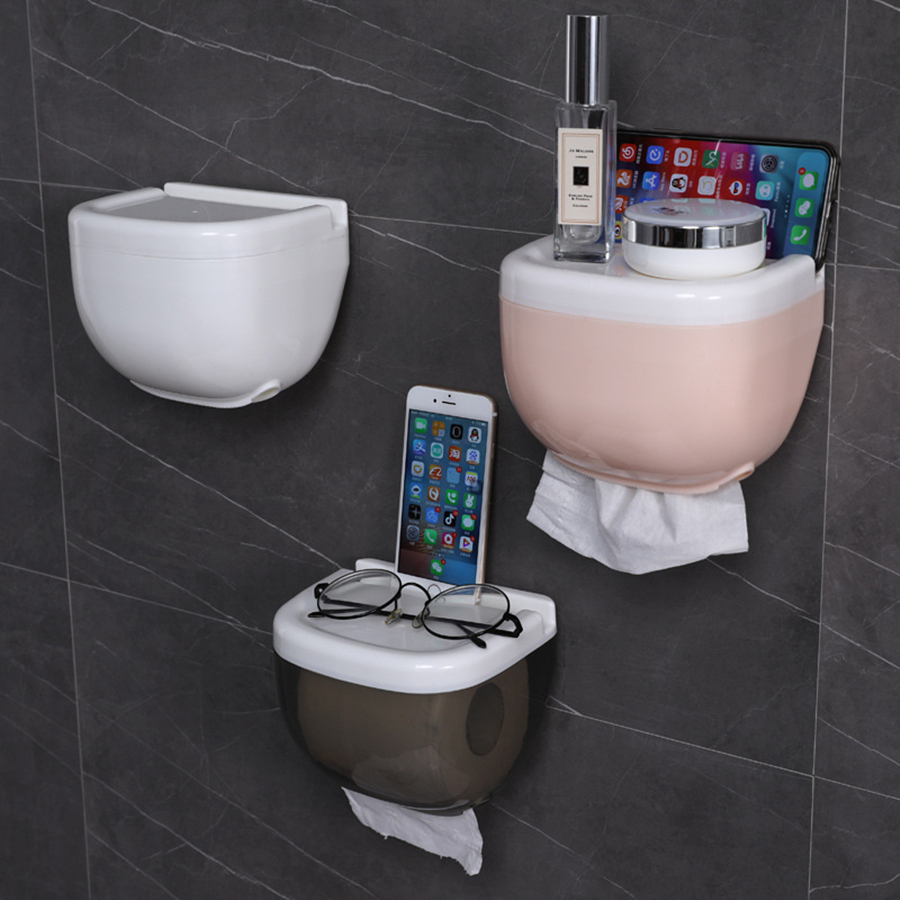 New Hot Sell Mobile Phone  Rack Waterproof  Paper Towel Box Toilet Roll Holder  Paper Towel Holder Wall Mounted Roll Paper Box