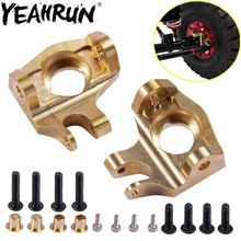YEAHRUN 1 Pair Brass Heavy Duty Front Steering Knuckle For 1/10 RC Axial SCX10 II 90046