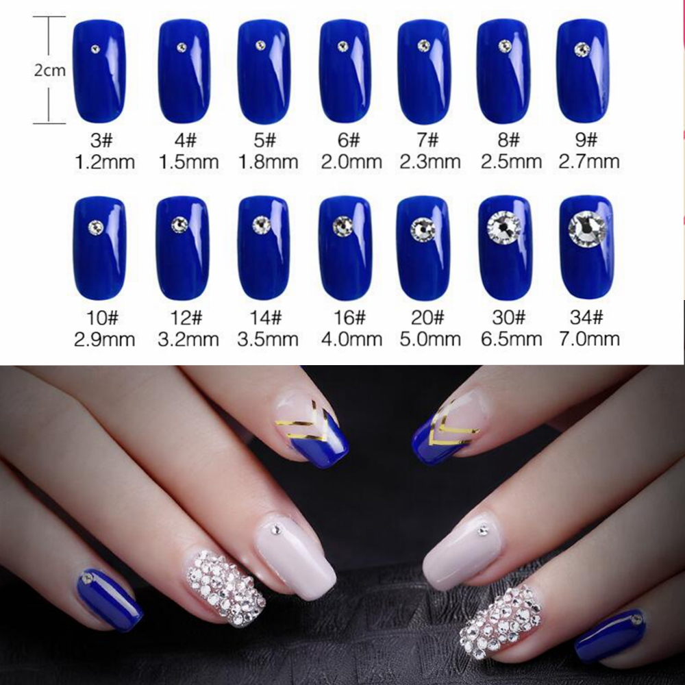 Купить с кэшбэком Super Glitter ss3-ss50 Crystal AB Flat Back Non HotFix Nail art Rhinestone 3D Glass Nail Art Decorations Garment Mix Rhinestone