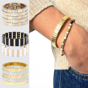 JUST FEEL Gold Silver Color Stretch Bracelet Bangles For Women Enamel Tile Stackable Wristband Cuff Bracelets Men Jewelry Gift(China)