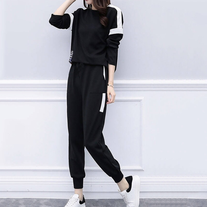 Women Summer Loose Simple Long Sleeve Pants Solid Color Round Collar Tops + Casual Slim Pants Two-Piece Suit
