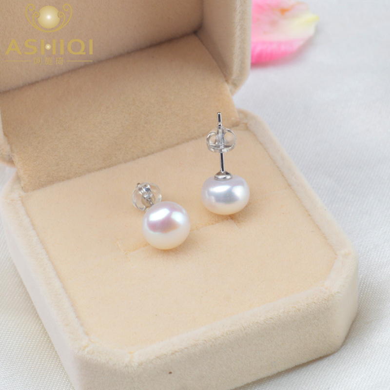 ASHIQI Natural Freshwater Pearl Stud Earrings For Women Real 925 Sterling Silver Jewelry Gift(China)