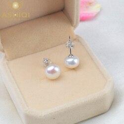 ASHIQI doğal tatlı su incisi saplama küpe kadınlar için gerçek 925 ayar gümüş takı hediye