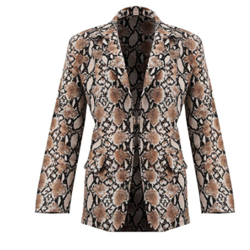 Fashion Womens Casual Snake Skin Print Blazer Elegant Casual Long Sleeve Outerwear Women Highstreet Autumn Coat