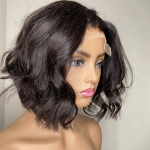 Image 2 - Peruvian Short  Wave Bob Wig 2x6 Lace Front Human Hair Wigs PrePlucked Glueless Remy 180% Density Natural Color Wigs For Women