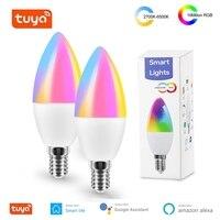 Tuya Smart WiFi lampadina a LED E14 RGB CW lampadina dimmerabile lampadina a candela 5W funziona con Alexa Echo Google Home Assistant AC 100-240V