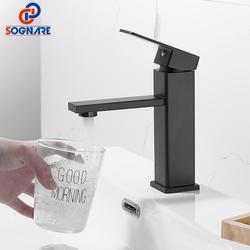 SOGANRE Basin Sink Bathroom Faucet Deck Mounted Hot Cold Water Basin Mixer Taps Matte Black Lavatory Sink Tap Crane
