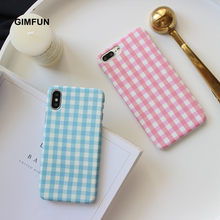 Gimfun Simple Pink Blue Grid Pattern Phone Case for IPhone XS MAX Xr 6s 7 8 5s SE Plaid Scrub Hard Case for Iphone 11 Pro Max(China)