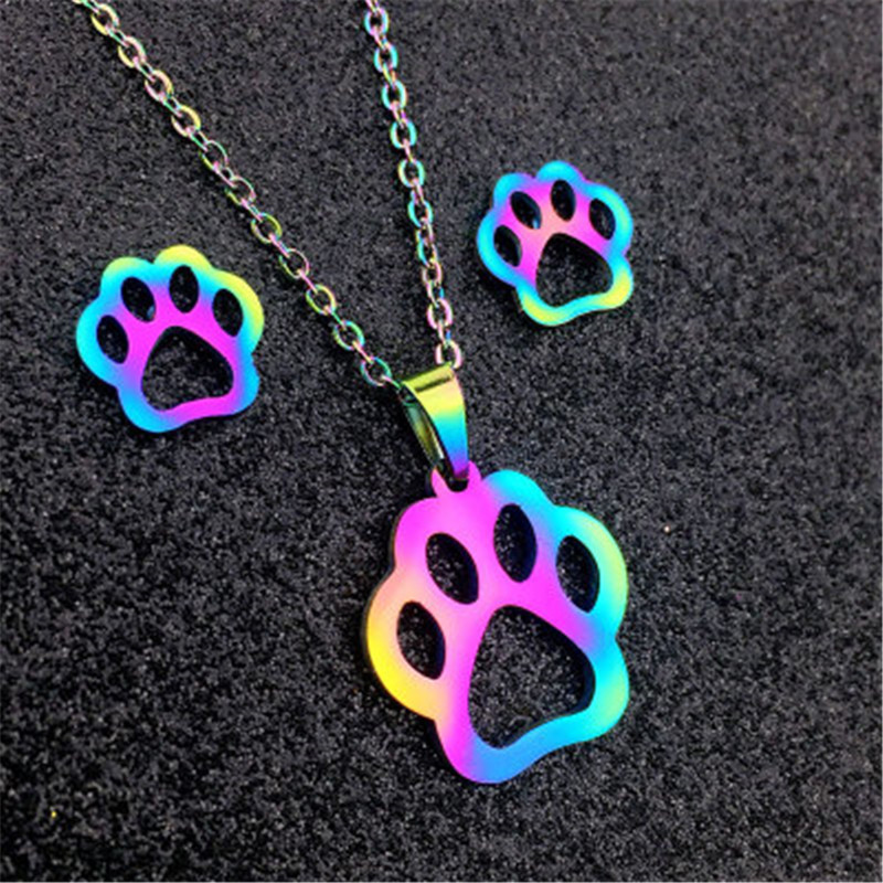 QIAMNI Colorful Cartoon Animal Necklaces Pendants Stainless Steel Mouse Cat Necklace Earrings Jewelry Set Gift for Kids