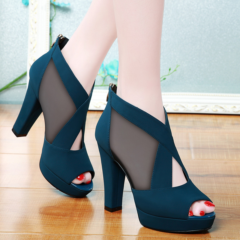 Summer Women High Heel Shoes Mesh Breathable Pomps Zip Pointed Toe Thick Heels Fashion Female Dress Shoes Elegant Footwear