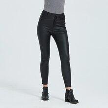 2019 pantalones de PU de alta cintura para entrenamiento Streetwear talla grande 3XL Otoño/Invierno Pantalones de mujer calientes