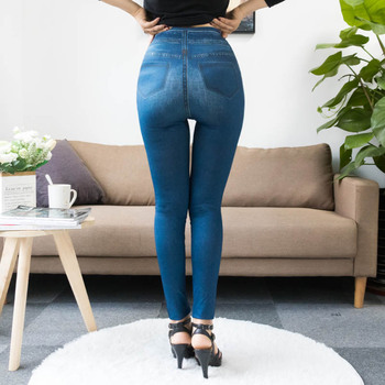 Fashion Slim Women Leggings Faux Denim Jeans Leggings Sexy Long Pocket Printing Summer Leggings Casual Pencil Pants 2