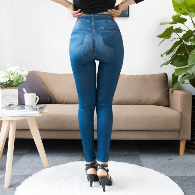 Fashion Slim Women Leggings Faux Denim Jeans Leggings Sexy Long Pocket Printing Summer Leggings Casual Pencil Pants 2