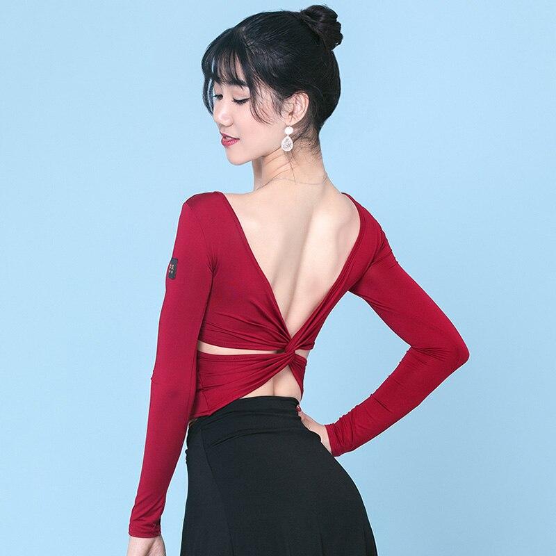 Latin Dance Top Women Sexy Backless Long Sleeve Shirts Lady Salsa Rumba Samba Cha Cha Dancing Clothes Adult Practice Wear DN4083