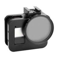 Aaae topo-caixa protetora do quadro do metal para gopro hero 8 preto com carregamento diretamente e adaptador de base