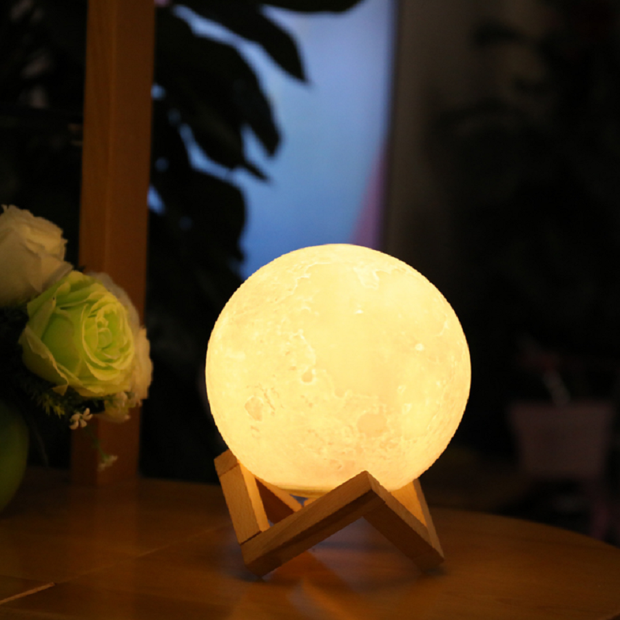 3D Printing Moon Lamp Night Light Warm And White Touch Sensor Control Dimmable USB Rechargeable Moonlight Children's Night Light