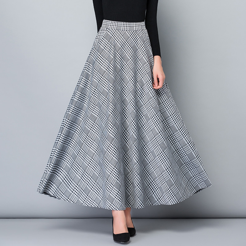 Vintage Plus Size Autumn Spring Long Skirts Women High Waist Vintage Maxi Skirt Elegant Office Lady Wark Plaid Skirt Streetwear