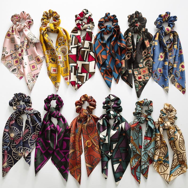 RuoShui Bohe Print Scrunchie Hair Scarf Ties For Women Chiffon Satin Elastic Hair Bands Ring Ponytail Hair Holder Bow Hairband