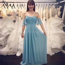 Simple Off The Shoulder Turquoise Bridesmaid Dresses Long Pleats Chiffon Maid Of Honor Wedding Party Guest Dress