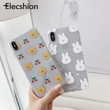 Cute Cartoon Bunny Phone Case For iPhone 7 8 Plus XR Xs Max Bear Transparent TPU X XS 6 6s Rabbit Couple Cover