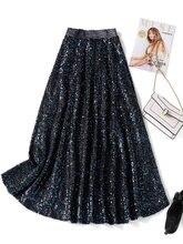 Женские блестящие А силуэта средней длины юбки осень зима модные