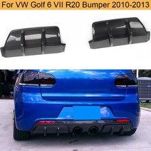 Fibra de carbono coche difusor trasero labio divisores para Volkswagen VW Golf 6 VII R20 parachoques 2010-2013 Rear divisores difusor FRP negro