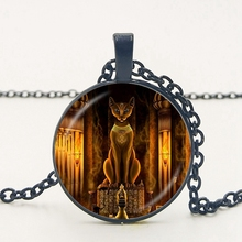 Statement Egyptian Lord Handmade Glass Necklace Ancient Cat Goddess Statue Female Jewelry Amulet Accessories