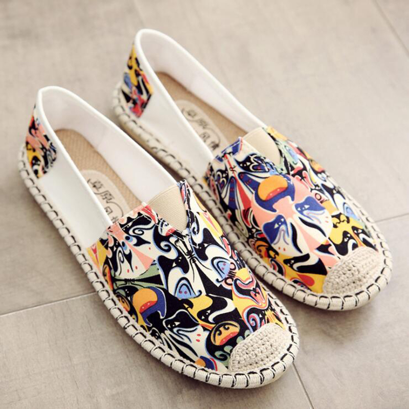 Women Sneakers Shoes Woman Flat Canvas Shoes 2019 New Autumn Fashion Women Flat Printing Shoes Flats Fisherman Zapatillas Mujer