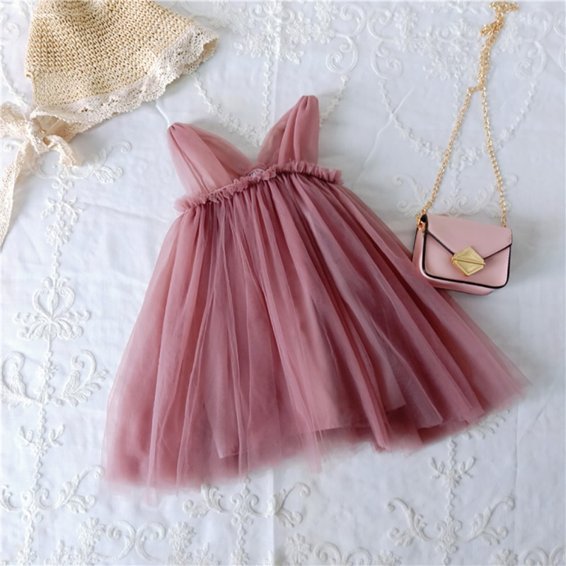 Children Summer Girls Solid Color Cute Mesh Stitching Sleeveless Sweet Princess Party Dress 1-7Y Lovely Toddler Girl Clothes