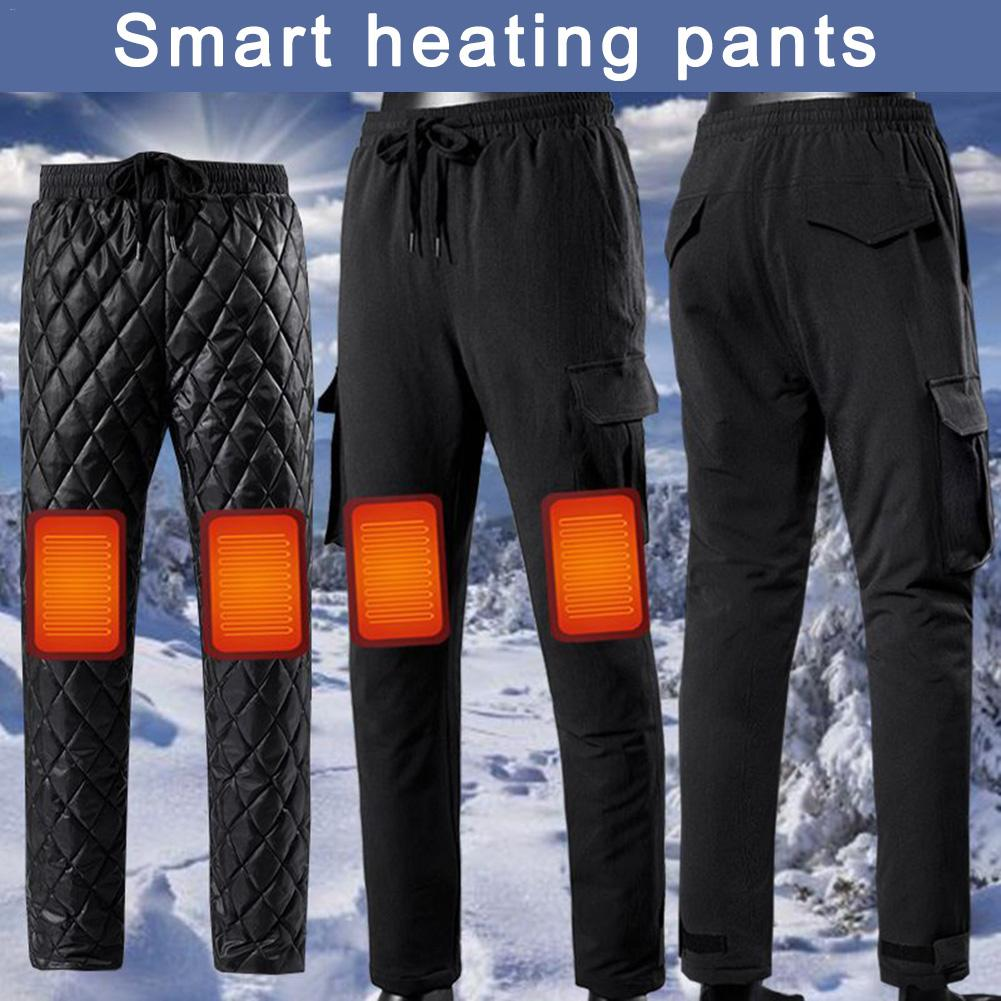 Electric Heated Warm Pants Men Women Smart Heating Base Layer Elastic Trousers Insulated HeatedUnderwear for Camping Hiking
