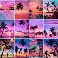 HUACAN – peinture diamant thème arbre, paysage, mosaïque de coucher de soleil, broderie complète 5D, carré, décor de maison, à faire soi-même, nouveauté