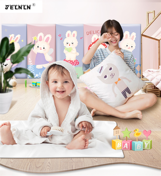 Cartoon rabbit crib cartoon bedside anti-collision head anti-smashing baby bed kids anti-collision stickers soft wall stickers