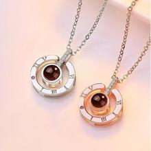 Romantic Love Projection Pendant Necklace I love you 100 languages Memory Wedding Necklace Rose Gold&Silver недорого