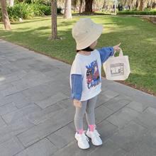 Crianças roupas 2021 primavera novas meninas coreano camisola pequeno e de tamanho médio bebê denim manga costura t