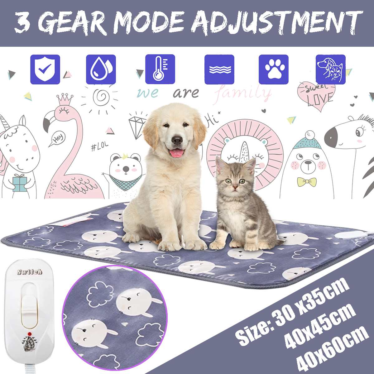 20W 220V Pet Dog Cat Warm Electric Heating Pad  Waterproof Heating Pad Three-speed Thermostat Pet Winter Plush Bed Carpet Mat