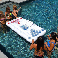 Summer 24 Cup Holder Inflatable Beer Pong Table Pool Float Water Party Fun Raft Floating Pool Pong Game Air Mattress Cool