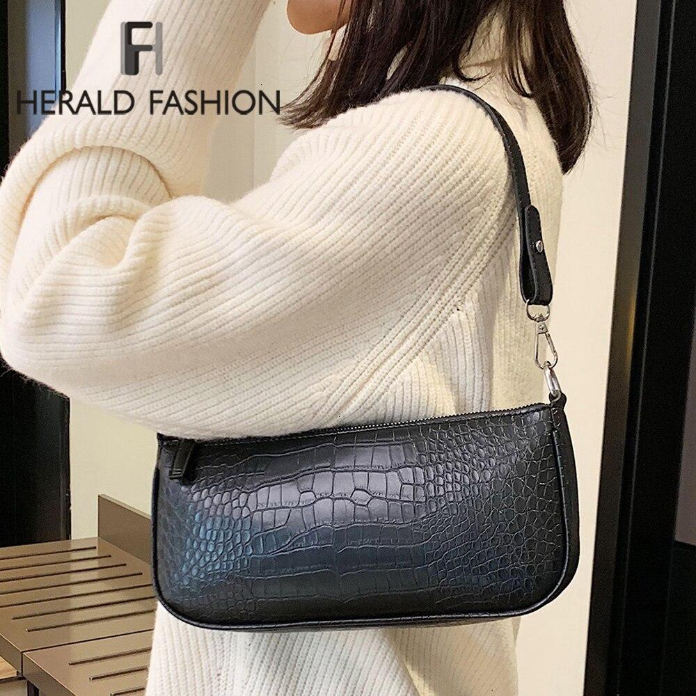 Crocodile Baguette Shape Bag Women Fashion Classic Wild Handbag Casual Shoulder Bag High Quality Leather Underarm Package Purses