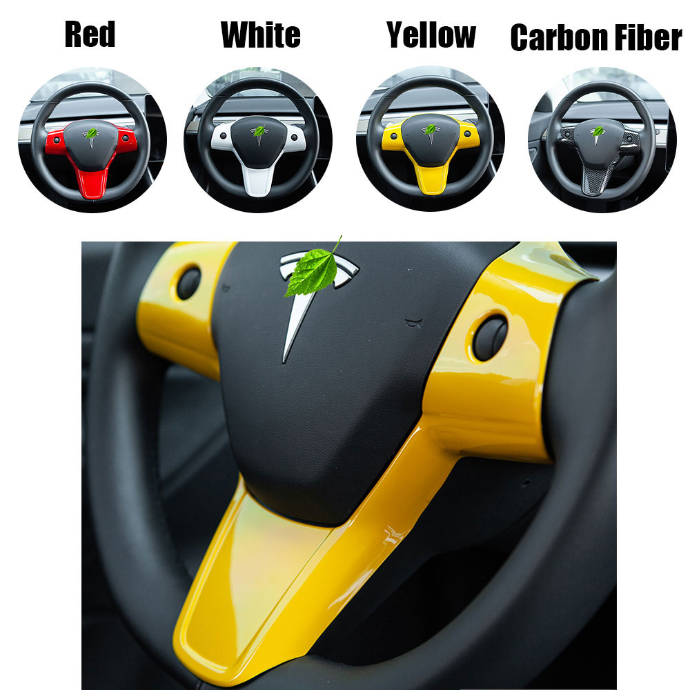 4 Colors Integrated Steering Wheel Cover Trim Sticker For Tesla Model 3 18-20
