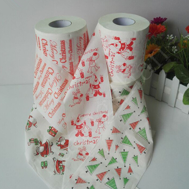 1roll Santa Claus / deer Merry Christmas supplies printing toilet paper family bathroom living room toilet paper Christmas part