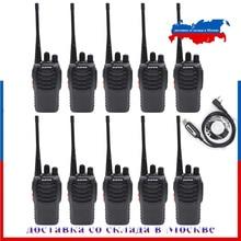 10pcs Baofeng BF 888S 워키 토키 5W 5KM UHF 400 470MHZ 16 채널 핸드 헬드 휴대용 햄 라디오 양방향 라디오 + 1 USB 케이블
