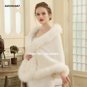 Image 2 - Hot Sale 2020 Cheap Wedding Jacket Bride Wraps Cape Winter Wedding Dress Wraps Bolero Wedding Fur Bridal Coat Accessories