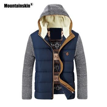 Mountainskin معطف الشتاء الرجال سترات دافئة سميكة الصوف القطن معاطف ضئيلة الذكور السترات معطف مقنع ملابس رجالي ماركة SA830