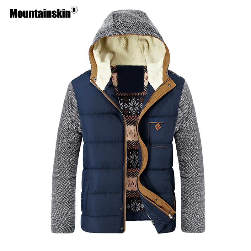 Mountainskin Winter Coat Men's Warm Parkas Thick Fleece Cotton Coats Slim Male Jackets Hooded Coat Mens Brand Clothing SA830