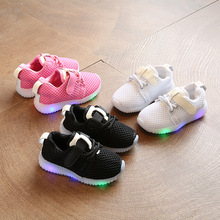 Baby Shoes Kids Autumn Children Light Shoes Boy Sneakers Led Light For Little Girl Sport Shoe White Black Pink 1 2 3 4 5 6 Years цена
